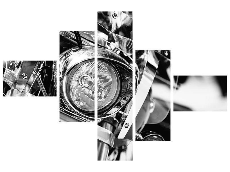 Metallic-Bild 5-teilig modern Motorrad Close Up