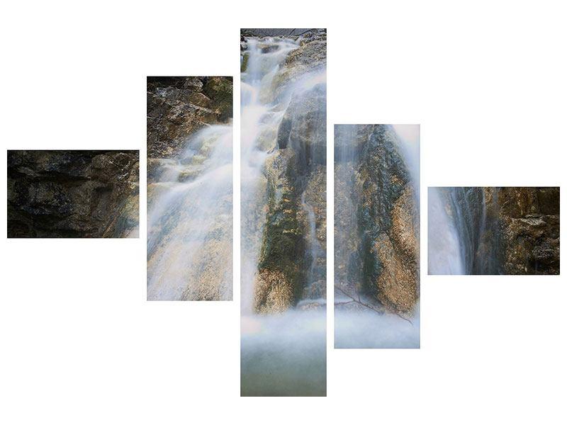 Metallic-Bild 5-teilig modern Imposanter Wasserfall