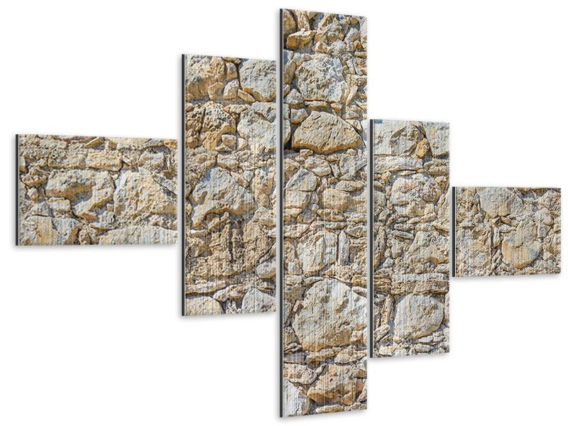 Metallic-Bild 5-teilig modern Sandsteinmauer