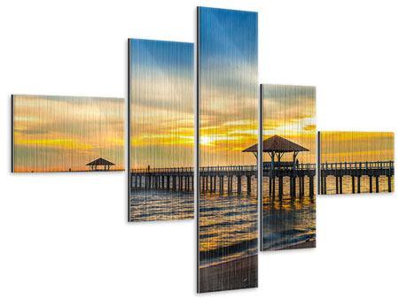 Metallic-Bild 5-teilig modern Brücke der Liebe