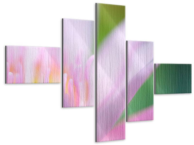 Metallic-Bild 5-teilig modern XXL-Lilie
