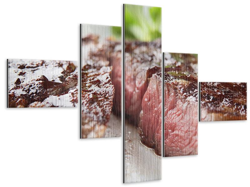 Metallic-Bild 5-teilig modern Perfektes Rindsfilet