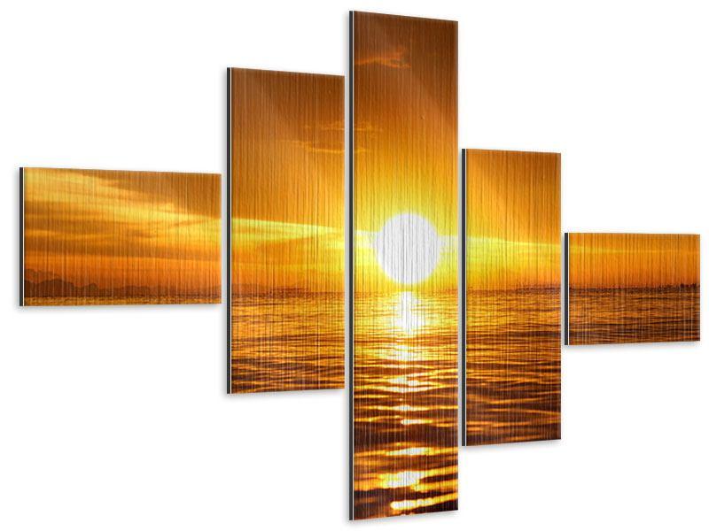 Metallic-Bild 5-teilig modern Glühender Sonnenuntergang am Wasser