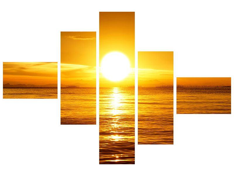 Metallic-Bild 5-teilig modern Traumhafter Sonnenuntergang