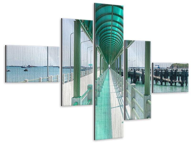 Metallic-Bild 5-teilig modern Die Brücke am Meer