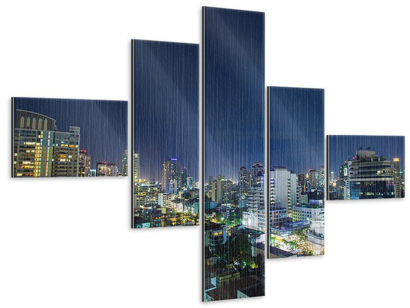 Metallic-Bild 5-teilig modern Skyline Nachts in Bangkok