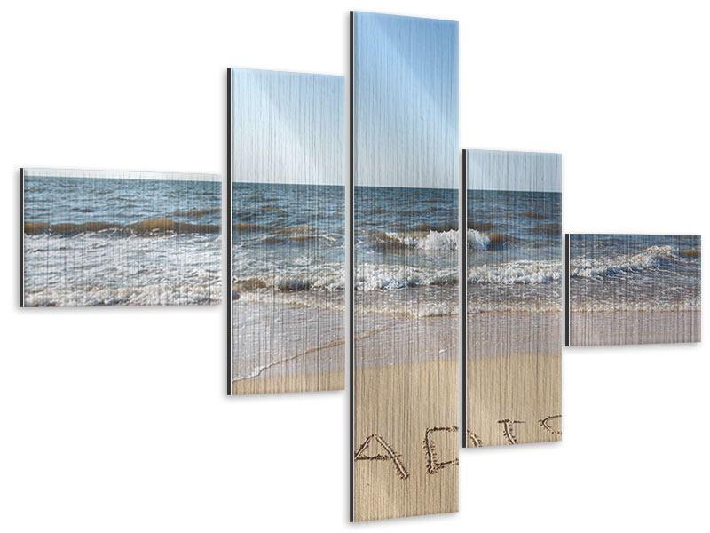 Metallic-Bild 5-teilig modern Sandspuren