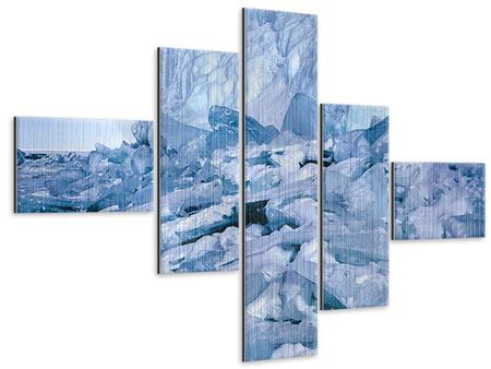 Metallic-Bild 5-teilig modern Eislandschaft Baikalsee