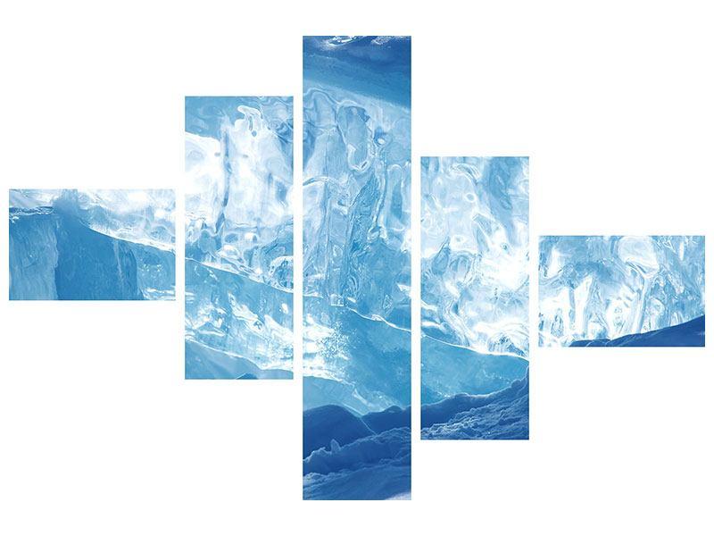 Metallic-Bild 5-teilig modern Baikalsee-Eis