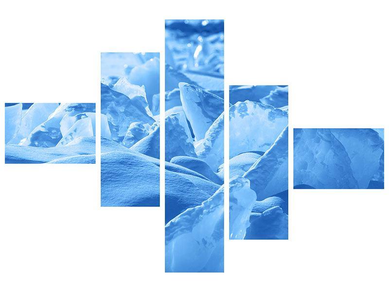 Metallic-Bild 5-teilig modern Eis des Baikalsees