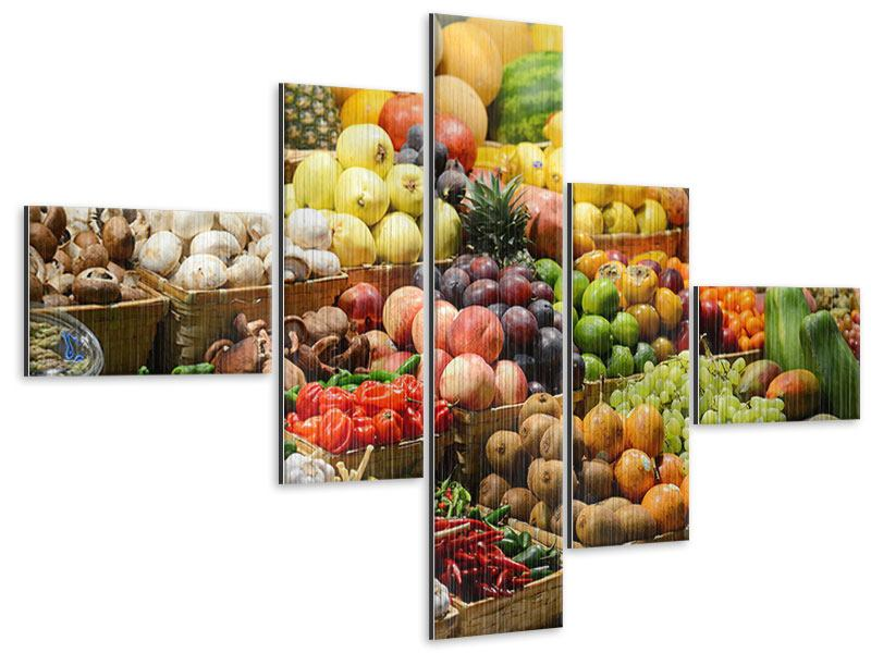 Metallic-Bild 5-teilig modern Obstmarkt
