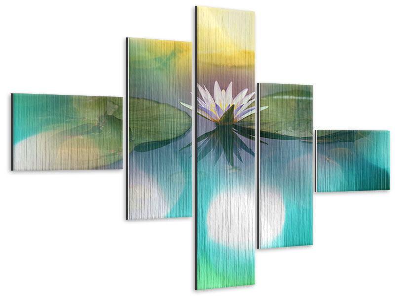 Metallic-Bild 5-teilig modern Lotus-Spiegelung