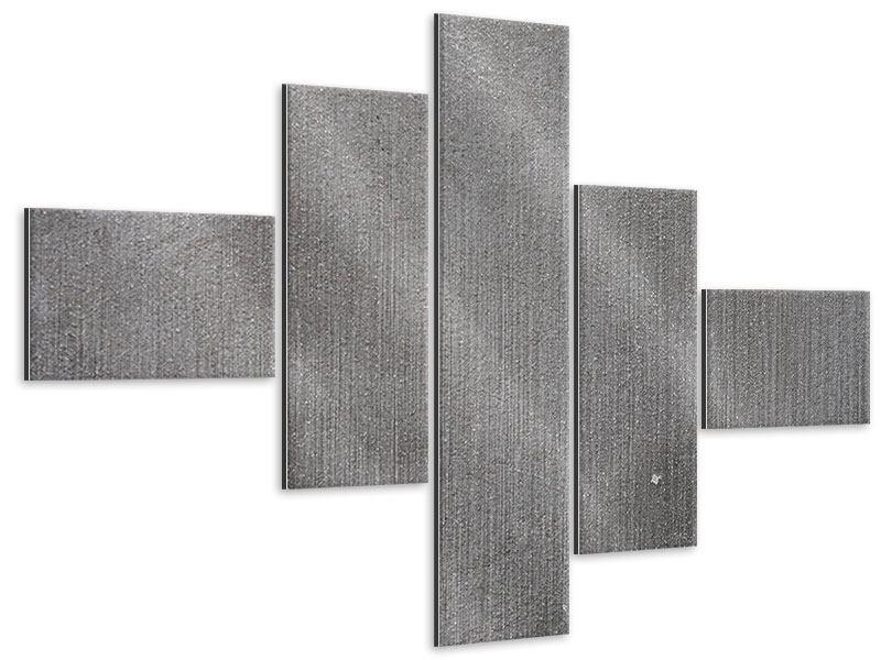 Metallic-Bild 5-teilig modern Beton in Dunkelgrau