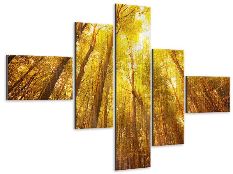 Metallic-Bild 5-teilig modern Herbstwald