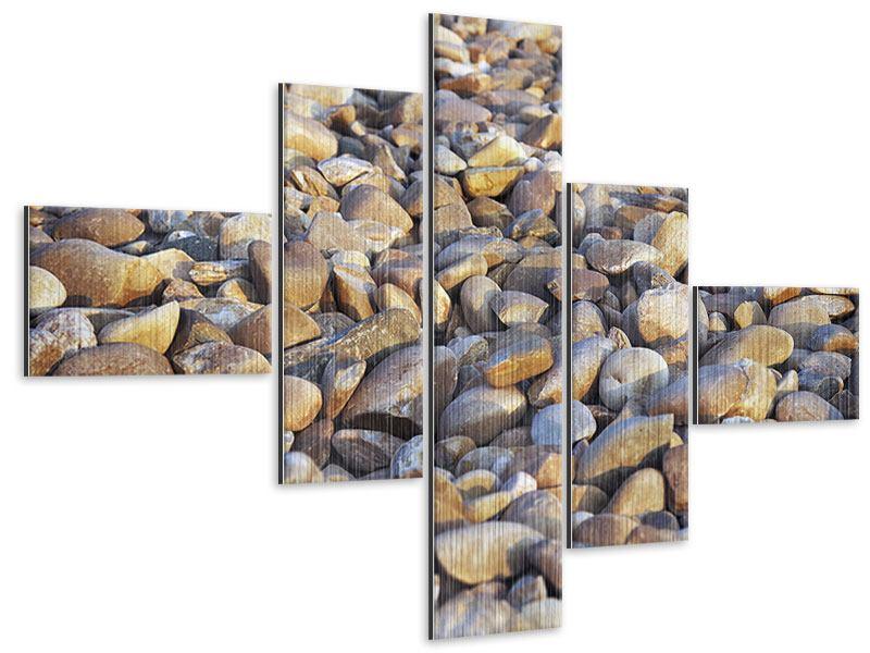 Metallic-Bild 5-teilig modern Strandsteine