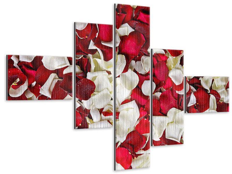 Metallic-Bild 5-teilig modern Rosenblätter