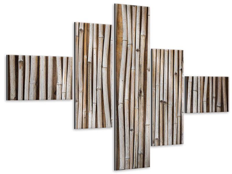 Metallic-Bild 5-teilig modern Getrocknete Bambusrohre