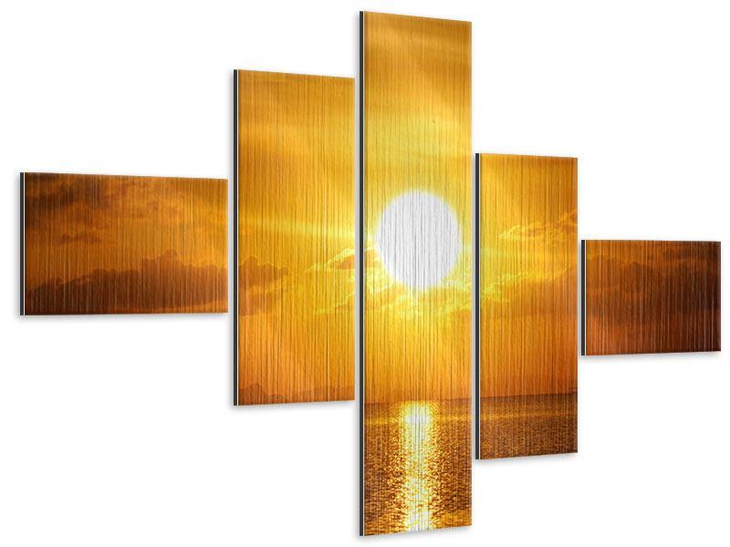 Metallic-Bild 5-teilig modern Sonnenuntergang See