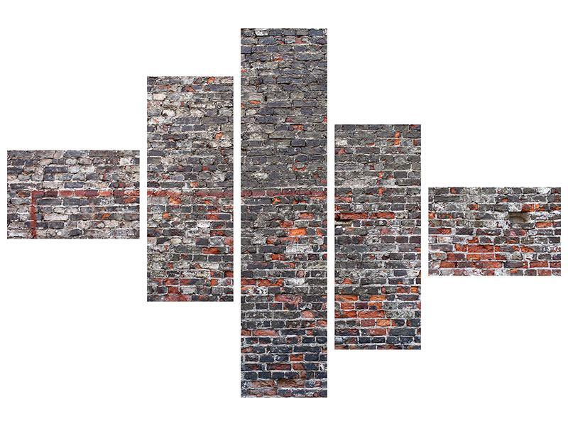 Metallic-Bild 5-teilig modern Alte Backsteine