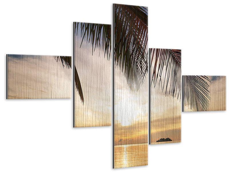 Metallic-Bild 5-teilig modern Strandpalme