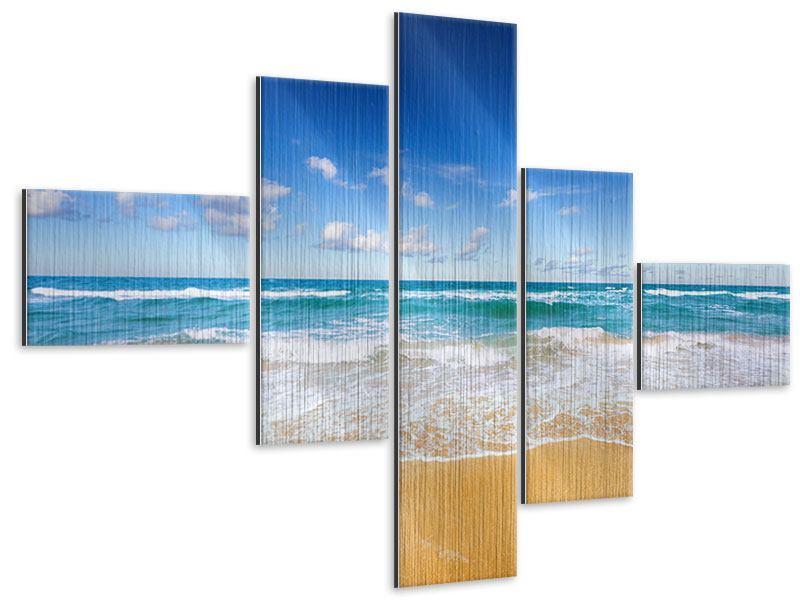 Metallic-Bild 5-teilig modern Die Gezeiten und das Meer
