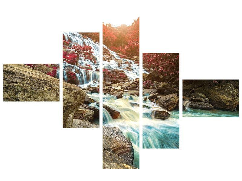 Metallic-Bild 5-teilig modern Exotischer Wasserfall