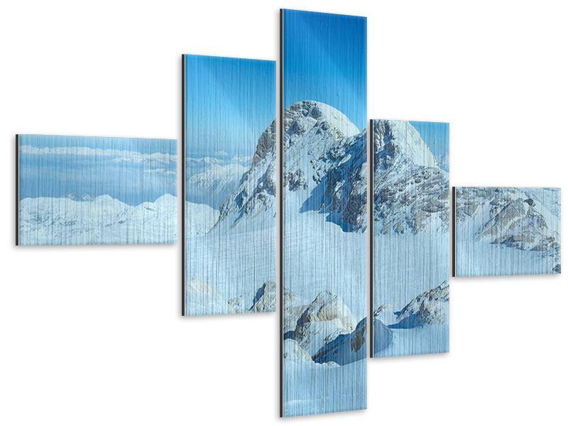 Metallic-Bild 5-teilig modern Über den Wolken