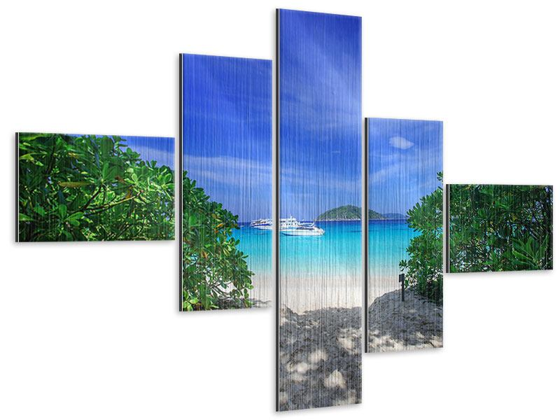 Metallic-Bild 5-teilig modern Similan-Inseln