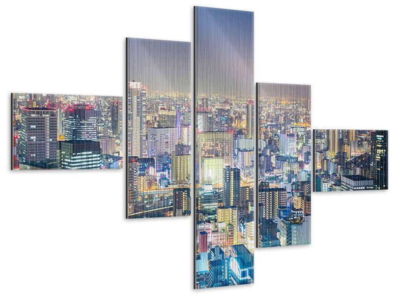Metallic-Bild 5-teilig modern Skyline Osaka bei Sonnenuntergang