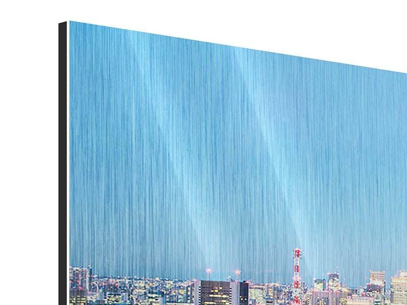 Metallic-Bild 5-teilig modern Skyline Tokio im Lichtermeer