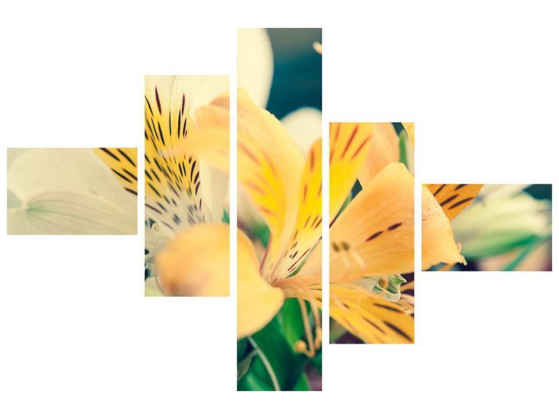 Metallic-Bild 5-teilig modern Tigerlilien