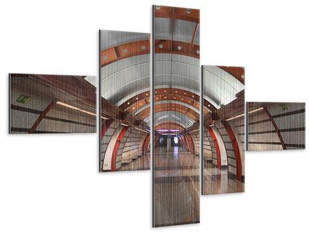 Metallic-Bild 5-teilig modern U-Bahn Station