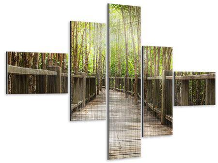 Metallic-Bild 5-teilig modern Hölzerne Brücke