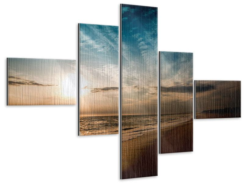 Modern 5 Piece Metallic Print Beach Walk