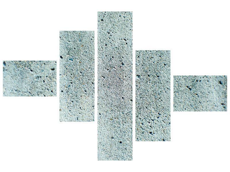 Metallic-Bild 5-teilig modern Beton in Grau