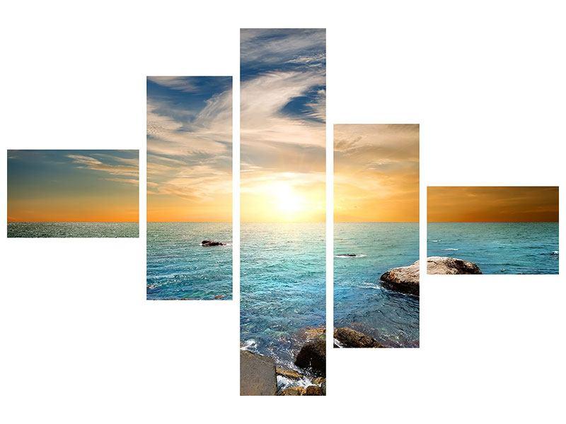 Metallic-Bild 5-teilig modern Meerwasser