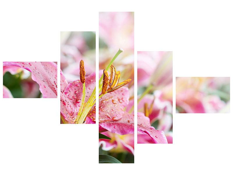 Metallic-Bild 5-teilig modern Lilien im Tau