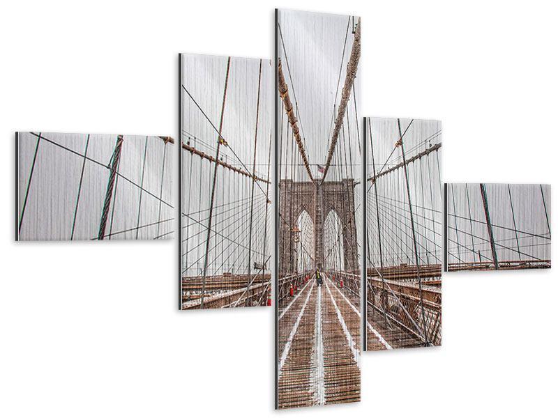 Metallic-Bild 5-teilig modern Auf der Brooklyn Bridge