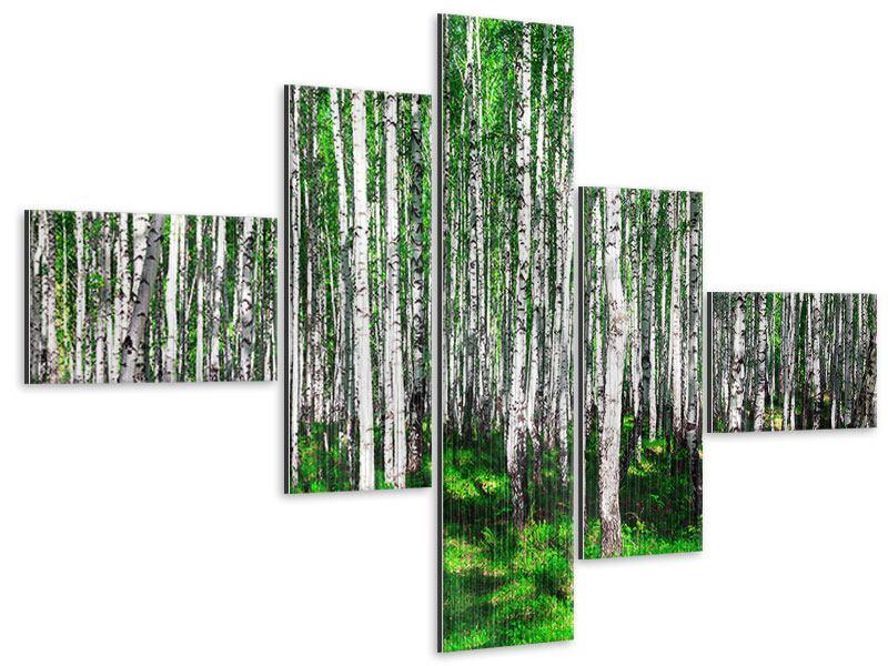 Metallic-Bild 5-teilig modern Sommerlicher Birkenwald