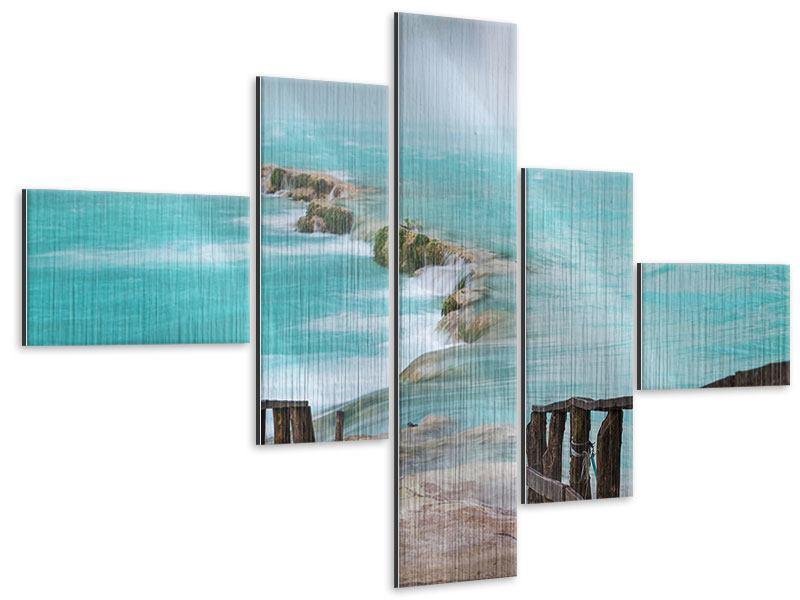 Metallic-Bild 5-teilig modern Haus am Wasserfall