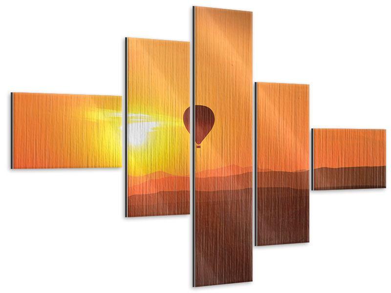 Metallic-Bild 5-teilig modern Heissluftballon bei Sonnenuntergang