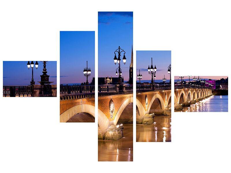 Metallic-Bild 5-teilig modern Pont De Pierre bei Sonnenuntergang