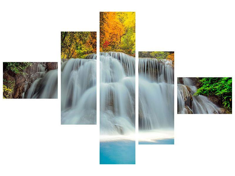 Metallic-Bild 5-teilig modern Fallendes Gewässer
