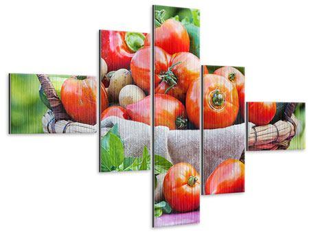 Metallic-Bild 5-teilig modern Gemüsekorb