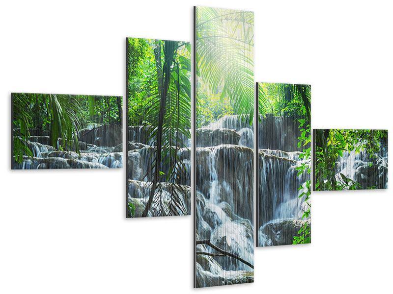 Metallic-Bild 5-teilig modern Wasserfall Agua Azul