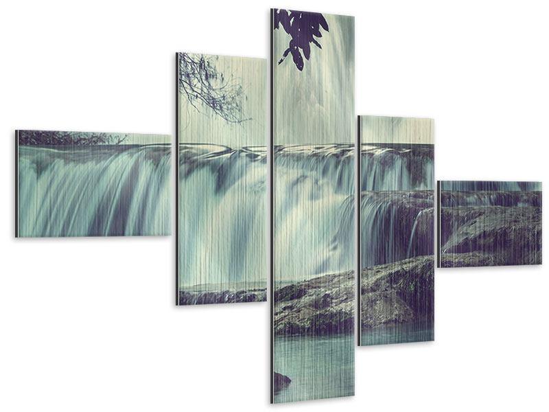Metallic-Bild 5-teilig modern Wasserfall Mexiko