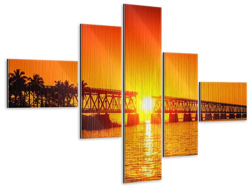 Metallic-Bild 5-teilig modern Sonnenuntergang an der Brücke