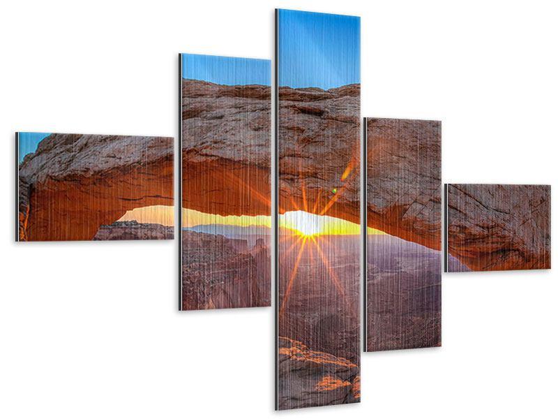 Metallic-Bild 5-teilig modern Sonnenuntergang am Mesa Arch