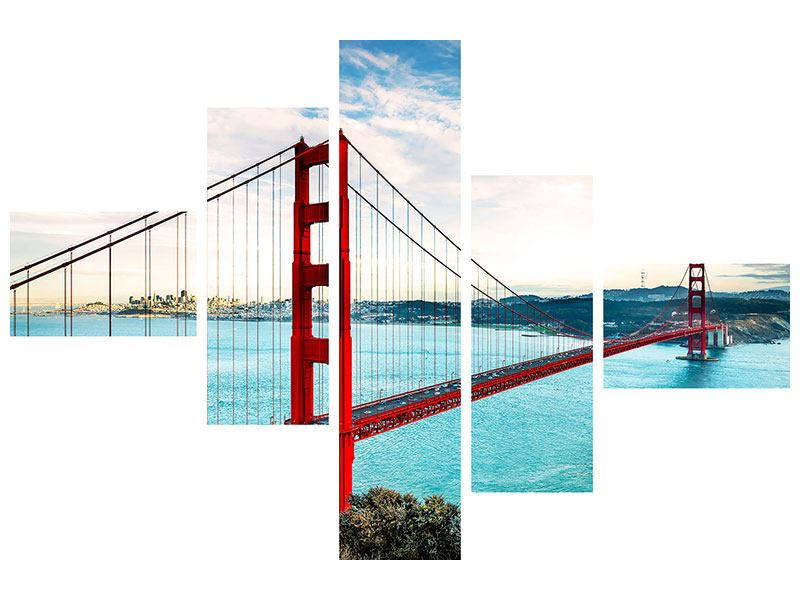 Modern 5 Piece Metallic Print Red Golden Gate Bridge