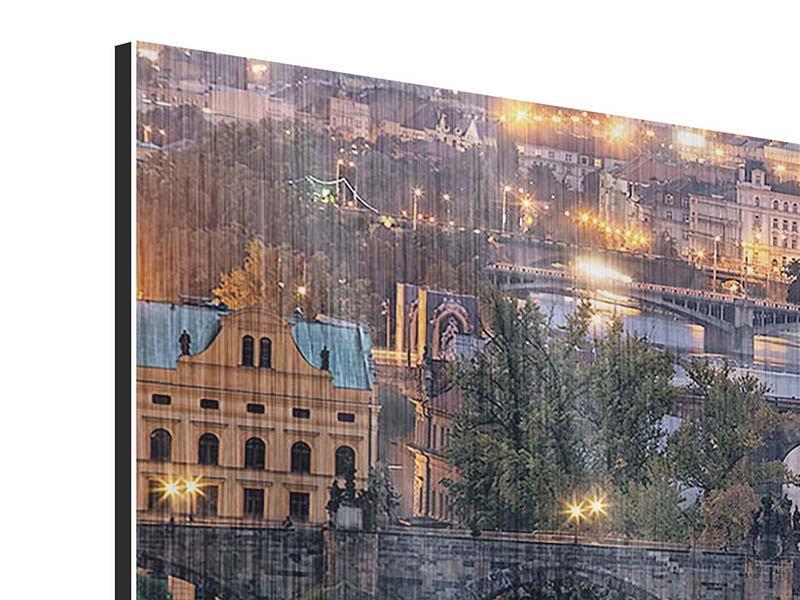 Metallic-Bild 5-teilig modern Brücken in Prag